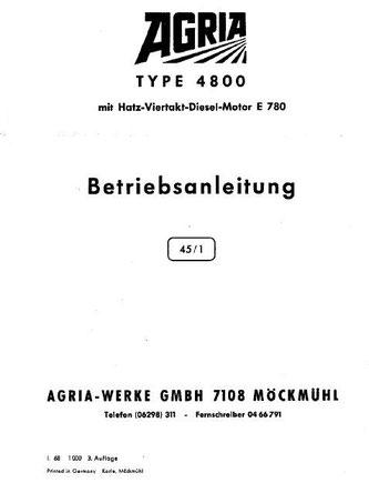 Agria Typ 4800 mit Hatz Dieselmotor E780 Betriebsanleitung