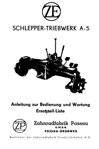 Getriebe ZF A5 - Anleitung zur Bedienung und Wartung, Ersatzteilliste