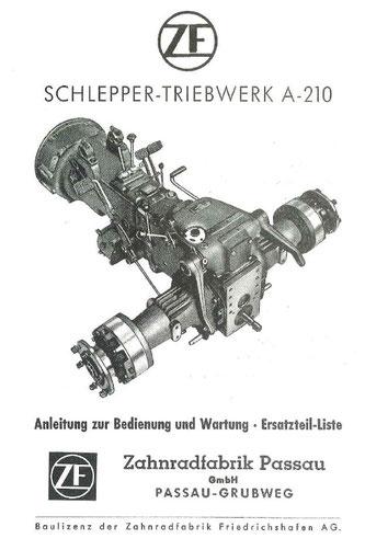 Getriebe ZFA210 - Anleitung zur Bedienung und Wartung, Ersatzteilliste