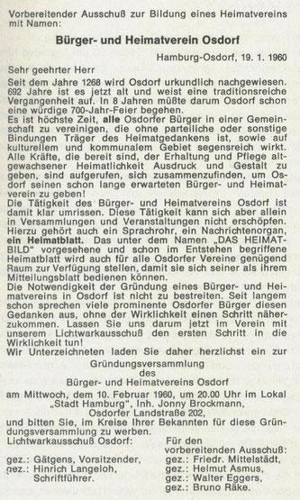 Geschichte Hamburg Osdorf - Vereinsgründung