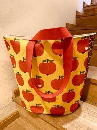 einzignartig, einzig-n-artig, Markttasche, Canvas, by graziela, äpfel, farbenmix, swafing,