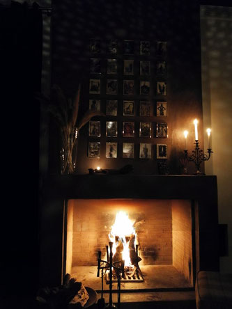 Fireplace at Les cinq Djellabas