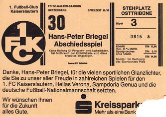 Eintrittskarte zu Hans-Peter Briegels Abschiedsspiel (Foto: Archiv Eric Lindon)