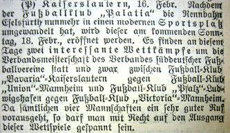 Kaiserslauterer Stadtanzeiger, No. 40, 16.02.1906 (Quelle/Foto: Stadtarchiv Kaiserslautern/Eric Lindon)