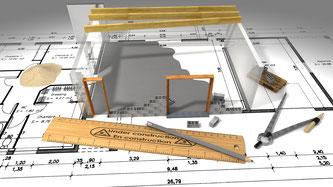 Bauplan mit Zirkel, Lineal und Stift
