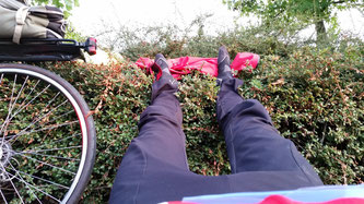 Resting my hurting legs during Paris-Brest-Paris 2015 Randonneur