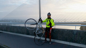 Wannes at the bridge in Brest. Halfway through Paris-Brest-Paris 2015 Randonneur