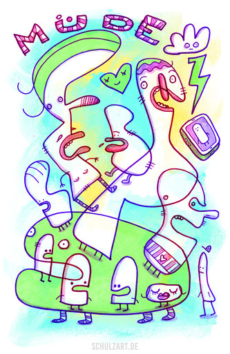 Zeichnung im Urban Art Style mit allerlei Figuren von Frank Schulz Berlin