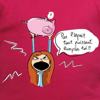 T-shirt drôle - tirelire cochon