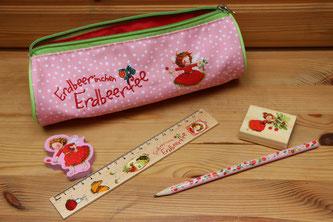 Ein Federmäppchen und Schreibset von Erdbeerinchen Erdbeerfee