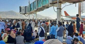 Flughafen Kabul: Es geht um Leben und Tod. Screenshot: Tagesschau