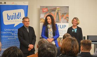vlnr: Reinhard Huber (vawis), Mag. Karin Ibovnik (build! Gründerzentrum), Dr. Iris Strasser (Verantwortung zeigen)