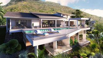 nouvelles villas de luxe vue mer à Rivière Noire ile Maurice constellation Marguery