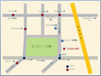 バンコク 日本大使館へのアクセスマップ