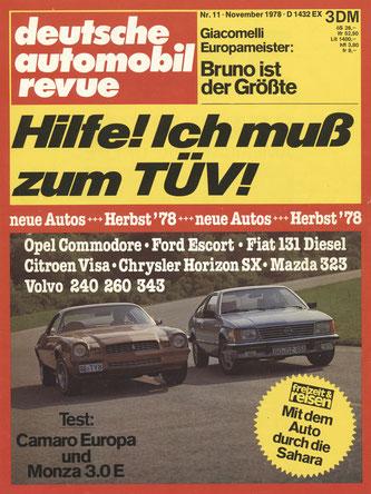 deutsche automobil revue - 11/1978 - Wissenswertes über den Opel ...