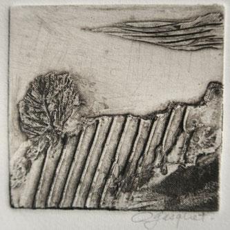 """Odile Gasquet, """"Sur la route"""", collagraphie, 10 x 10."""