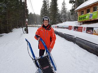 Am Bild Dominik Maier bei seinem Weltcuprennen auf der Winterleiten. (Foto: RC Mondi Frantschach)