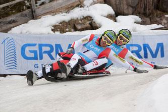 Am Bild: Christoph und Thomas Knauder beim Weltcup in Deutschnofen (Foto: Chris Walch)