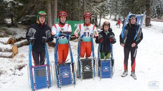 Am Bild die Rodler vom RC Mondi Frantschach. Von links Christoph Kogler, Thomas und Christoph Knauder, Dominik Maier und Jürgen Kogler. (Foto: RC Mondi)