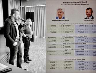 Markus Gruber, Eva Strotzka und Evaluierungsbogen
