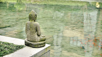 Buddha-Statue an einem Teich