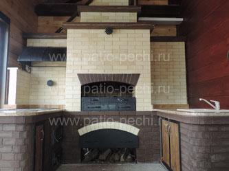 Печной комплекс барбекю с мангалом, вертелом, генератором углей, плитой под казан, мойка