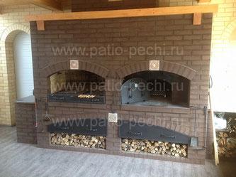Фото барбекю комплекса с мангалом, вертелом, генратором углей, русской печью