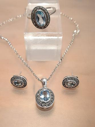 Markasit Schmuck mit Blau Topas auf Silber Collier Ohrringe Ring