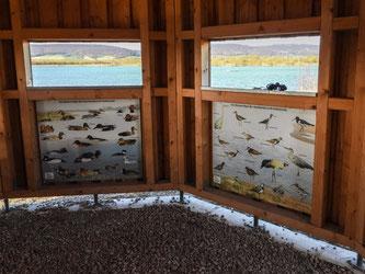 Blick aus den Sichtfenstern mit den anderen beiden Bestimmungstafeln. - Foto: Kathy Büscher
