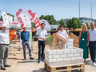 STRABAG Real Estate legt Grundstein für  Erweiterungsbau des JobRad-Campus auf der Businessmile Freiburg