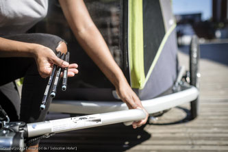 Bei Hinterrädern mit Steckachse hilft die mitgelieferte Kupplung nicht weiter