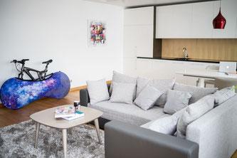 Velosock, die Fahrradhülle für Haus, Büro und Auto