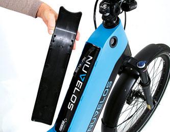 Gut finden wir die Platzierung des Akkus, der im Oberrohr steckt / Nuvelos Bike