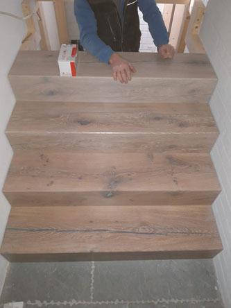 Montage der Stufenblöcke