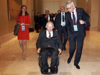 Wolfgang Schäuble trifft zum G20-Treffen in Chengdu ein. Foto: Ng Han Guan/Pool