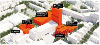 Das neue Konzerthaus und weitere neue Gebäude am Münchner Ostbahnhof (Foto: faromedia creative network - interactive GmbH & Co KG / Werksviertel Mitte)
