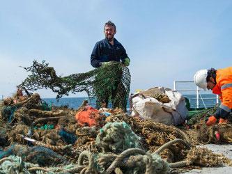Greenpeace-Aktivisten bergen verlorene Fischernetze im Schutzgebiet Sylter Außenriff. Foto: Bente Stachowske/Greenpeace