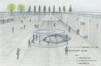 ウォッピーテニスパーク水飲み場のデザイン案(札幌市立大学ホームページより)