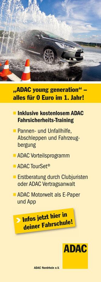 Sicherheitstraining Führerschein Klasse B und ADAC Mitgliedschaft kostenlos für 1 Jahr
