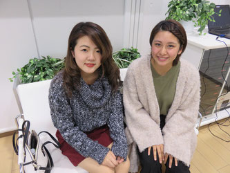 Mizuki Koike (left) and Mariana Nishii pose for a photo at G Square of Chuo's Tama campus.