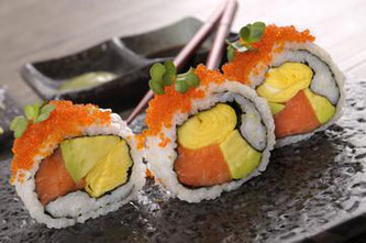 Photo shows California roll made by a sushi robot.