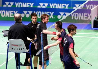 Lee/Yoo bezwangen Fuchs/Schöttler in Runde 1 (Bild: Bernd Bauer)