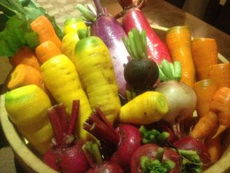 色とりどりのカラフルな西洋地野菜