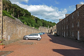 Our hire car, parked outside our accommodation at New Lanark, Scotland