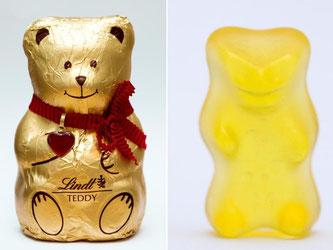 """Haribo-Gummibär """"Goldbär"""" (r) und Schokoladenbär von Lindt. Der BGH muss im Goldbärenstreit urteilen. Foto: Rolf Vennenbernd"""