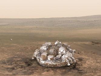 Das «Schiaparelli»-Moduls nach der Landung auf der Oberfläche des Mars. Im Hintergrund ist der Fallschirm zu sehen, der die Geschwindigkeit des Moduls vor dem Aufsetzen reduzieren soll. Illustration: ESA ATG-medialab Foto: ESA ATG-medialab
