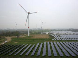 Solaranlage und Windräder im schleswig-holsteinischen Büttel: 2015 geht für erneuerbare Energien in Deutschland als ein Jahr der Ernüchterung in die Geschichte ein. Foto: Christian Charisius/Archiv
