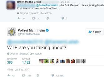 Screenshot des Tweets «WTF are you talking about?» (Über was zum Teufel reden Sie?) der Polizei in Mannheim, der nach der tödlichen Autofahrt von Heidelberg von der Polizei auf Twitter gepostet wurde. Foto: Twitter