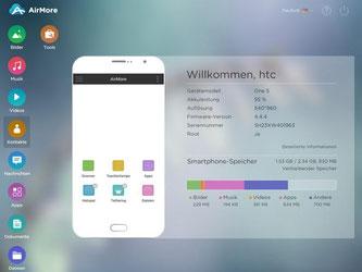 Mit «AirMore» lassen sich Inhalte vom Smartphone auf den PC übertragen - oder umgekehrt. Foto: airmore.com