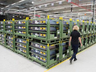Batterien für Elektroautos in der Produktion der Deutsche Accumotive in Kamenz. Foto: Sebastian Kahnert